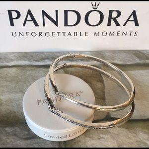 Pandora sterling silver bangles set bracelet